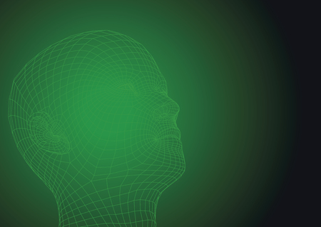 Wireframe human head looking at the sky. new technologies concept. futuristic vector illustration