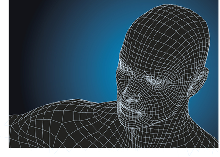 new technologies: Wireframe human head. new technologies concept. futuristic vector illustration