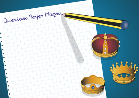 tres: Carta a los reyes magos. Letter to three orient kings. Spanish tradition on january, 6 where the three wise men receive letters from children and so bring them gifts on the night before Epiphany