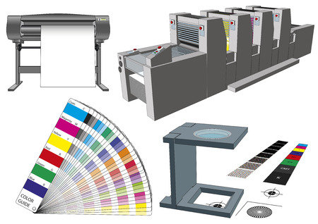 printshop: Graphic arts tools and machinery for commercial print. Modern workflow elements used in graphic arts. Plotter, printting press, color guide and loupe. Vector illustration