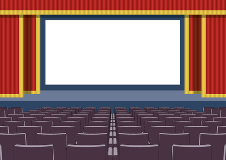 customizable: Empty cinema theater with a customizable blank screen and red curtains. vector illustration