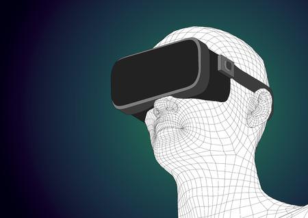 wireframe cabeza humana futurista que lleva el dispositivo de realidad virtual para la experiencia de inmersión en la realidad aumentada. ilustración vectorial
