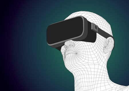 headset: wireframe futuristic human head wearing vr headset for immersive experience in augmented reality. Vector illustration