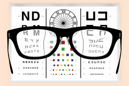 eyeglasses in front of a vision test to visual correction of diopters. Optometry, optical correction and healthcare concept. 3d render, 3d illustration Stock Photo