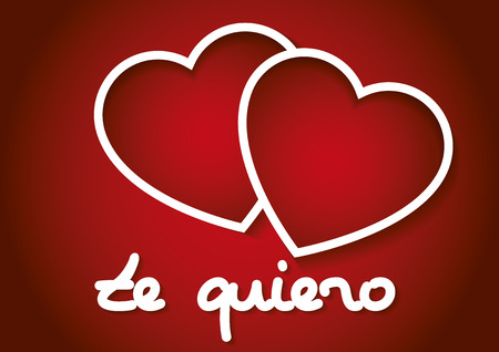 te: Te quiero words with two hearts in red. february 14, Valentines day, love concept. Love symbol Illustration