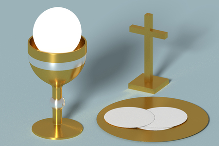 liturgy elements for christian eucharist chalice, cross, wafers or sacramental bread. Lord supper. Holy communion. 3d render. 3d illustration Stock Photo
