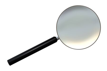 Realistic magnifying glass or loupe isolated on white. 3d render, 3d illustration