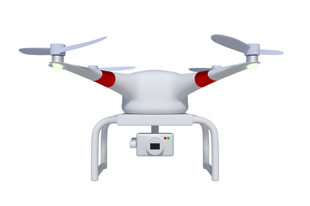 Front view of drone or quadcopter in white equipped with a gimbal camera to take aerial photography and video. Quadrocopter isolated on white. 3d render, 3d illustration