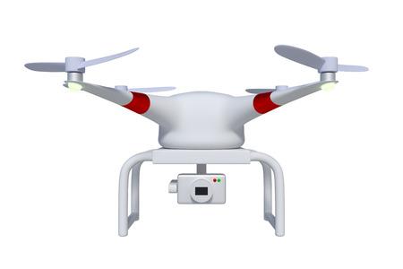 Vooraanzicht van drone of quadcopter in wit uitgerust met een cardanische camera om luchtfotografie en video te maken. Quadrocopter op wit wordt geïsoleerd dat. 3d render, 3d illustratie