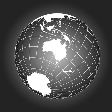 Australia or Oceania map. Australasia, Asia, Russia, Antarctica, North pole. Earth globe. Worldmap. Elements of this image furnished by NASA