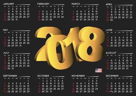 2018 black calendar in english. Year 2018 calendar. Calendar 2018. Week starts on sunday. USA format