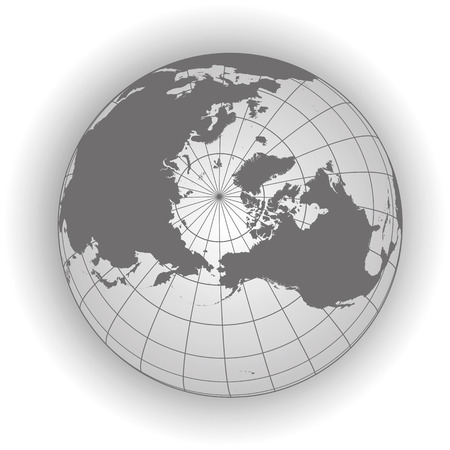 north pole: North Pole map. Europe, Greenland, Asia, America, Russia. Earth globe. Worldmap. Elements of this image furnished by NASA