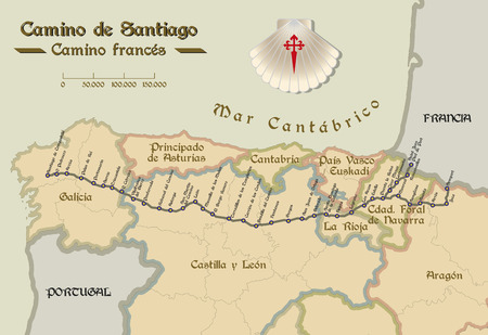 pied: Map of Saint James way with all the stages of french way. Mapa del Camino de Santiago.