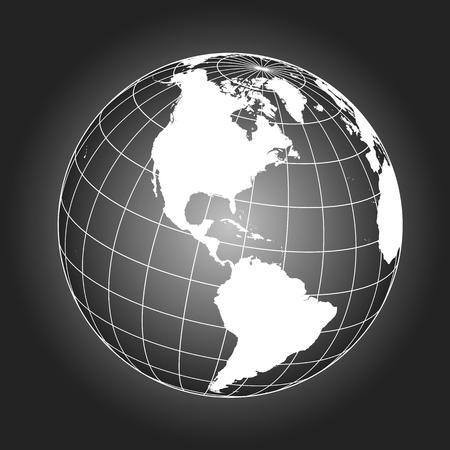 北アメリカ マップ。ヨーロッパ、グリーンランド、北極、南アメリカ。地球。世界。NASA から提供されたこのイメージの要素  イラスト・ベクター素材