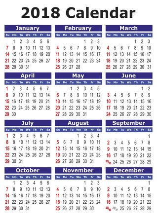 2018 calendario. Calendario de vector simple para el año 2018.