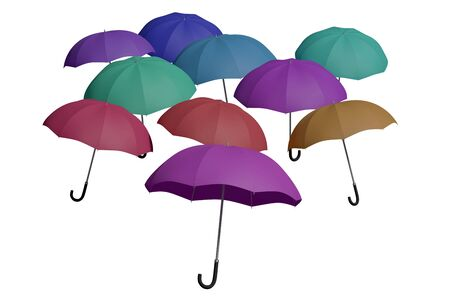 multicolored flying umbrellas isolated over white. 3d render, 3d illustration Stock Photo