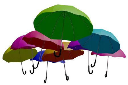 personal accessories: Some multicolored umbrellas as seen from below isolated over white. 3d render, 3d illustration