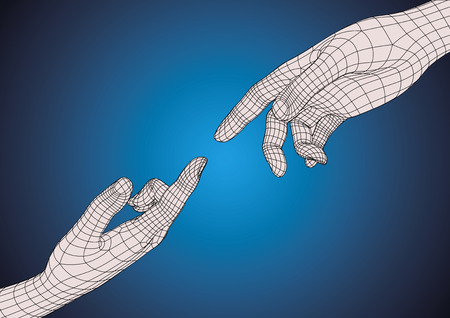 Two wireframe futuristic human hands pointing one each other as imitation of Michelangelo hands of God and Adam in sistine chapel. Technology and creationism metaphoric concept Иллюстрация