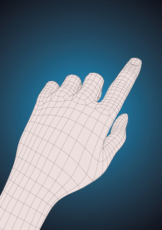 human finger: Left-handed. Old style wireframe human left hand touching, pushing or indicating something with index finger.