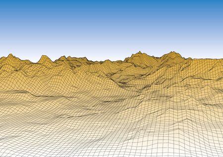 Retro style futuristic landscape with a mountain range and realistic sky. Vector illustration Illustration