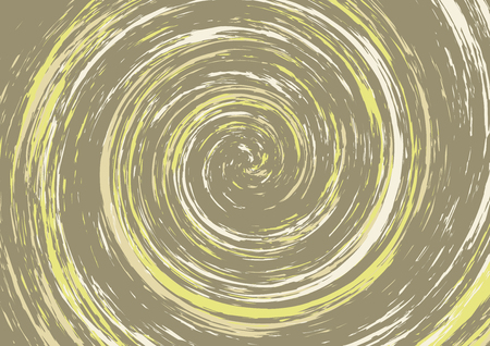 Hypnotic spiral abstract background in brown and yellow tones. Swirl. Vertigo, dizziness. Vector wallpaper