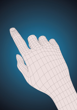 human touch: Old style wireframe human right hand touching, pushing or indicating something with index finger Illustration
