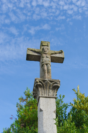 Cruceiro in the town of Sarria, Lugo, Galicia, Spain. Stone cross
