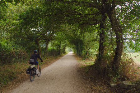 galicia: A cyclist is making the camino de santiago riding a bicycle. blurred motion