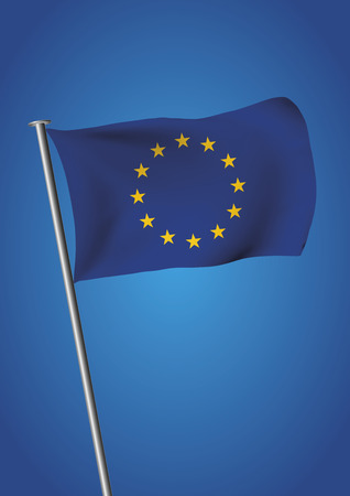 European Union flag waving over the sky before brexit . Vector illustration