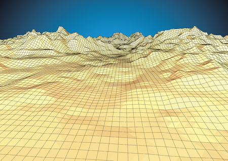 Retro style wireframe futuristic landscape with a mountain range and realistic sky. technology concept. Vector illustration