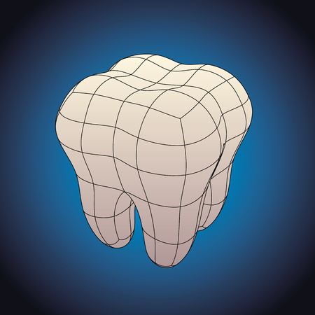 shrinkage: Futuristic human molar dental piece. Dentistry and oral higyene concept. vector illustration