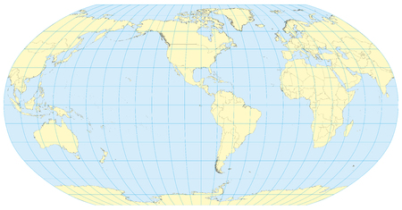 Very high detailed map of the world in robinson projection with graticule. Centered in Americas.