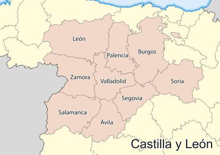 Vector map of the autonomous community of Castile and Leon (Castilla y Leon). Spain.