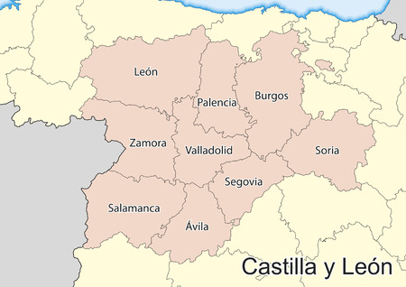 Vector kaart van de autonome gemeenschap Castilla y León (Castilla y León). Spanje. Stock Illustratie