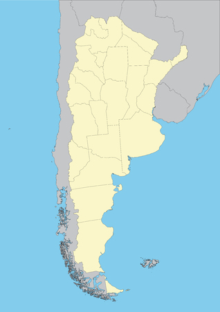 High detailed vector map of Argentina with provinces. File easy to edit and apply. Stock Illustratie