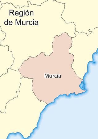 Vector map of Region of Murcia (Region de Murcia) Spain. Ilustrace
