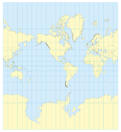 transverse: Very high detailed map of the world in Mercator projection with graticule. Centered in Americas.