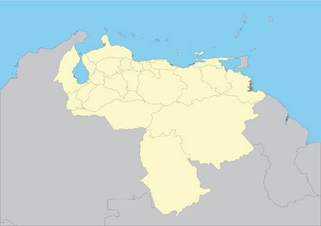 High detailed vector map of Venezuela. File easy to edit and apply.
