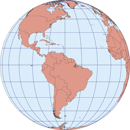 graticule: Globe Map centered on South America. Ortographic projection with graticule. vector map