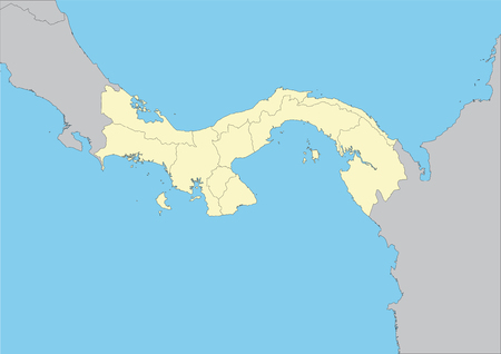 belize: High detailed vector map of Panama with provinces. File easy to edit and apply. Illustration