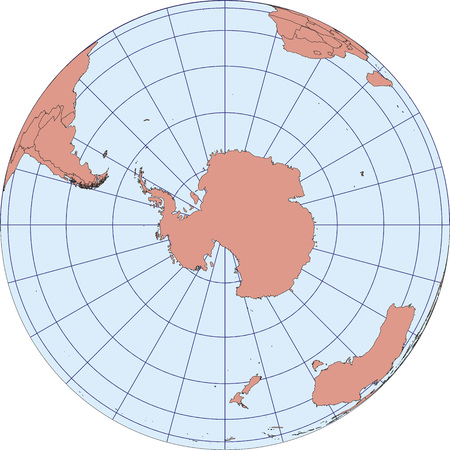graticule: Globe Map centered on South Pole. Ortographic projection with graticule.  vector map Illustration