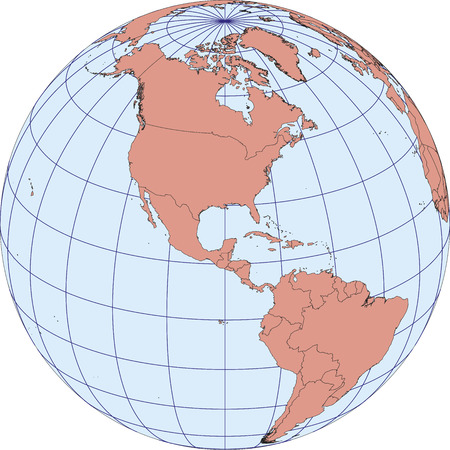 Globe Map centered on North America. Ortographic projection with graticule.  vector map