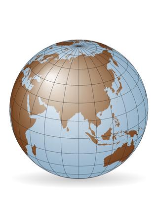 Asia map.  Australia, Russia, Africa, North pole.
