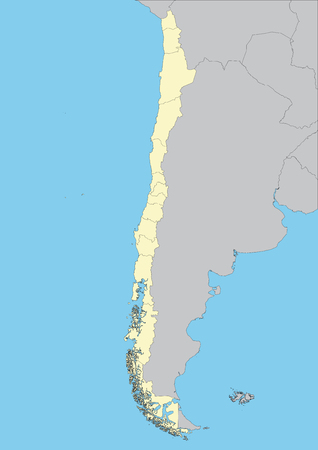 High detailed vector map of Chile. File easy to edit and apply.