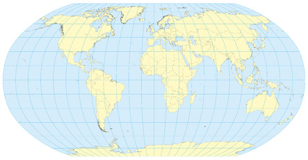 Very high detailed map of the world in robinson projection with graticule. Centered in Europe and Africa. Illustration