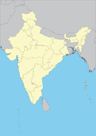High detailed vector map of india with states. File easy to edit and apply.