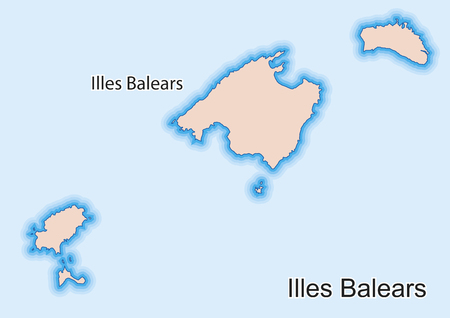 Vector map of the autonomous community of Balearic Islands (Illes Balears) Spain. Illustration