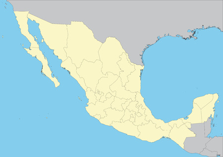 High detailed vector map of Mexico with states. File easy to edit and apply.