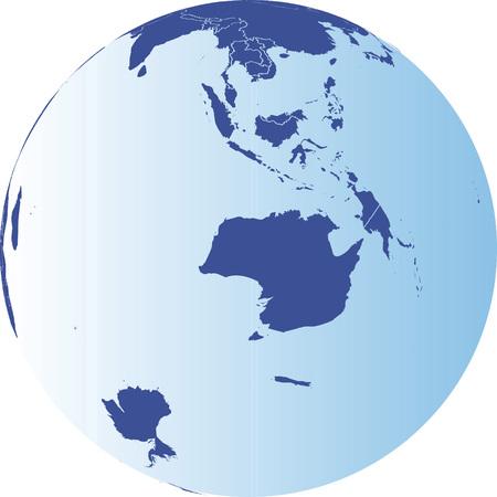 Australia and Antarctic Globe.  Vector map