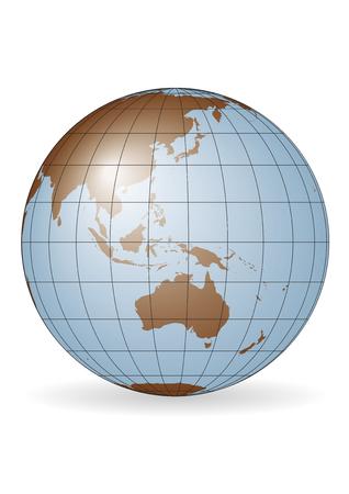 Australia map.  Ausia, Russia, Antarctica, North pole. Illustration